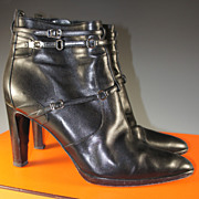SALE Barely Worn, HERMES Ankle Boots, 40 or US 9 in Black With 3.5 ...