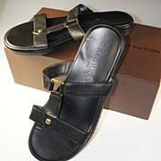 SALE Lightly Used Louis Vuitton Black Epi Leather Sandals, Size 39, 8.5 Flats