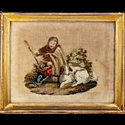 SALE Antique Victorian or Georgian Era Needlepoint Needlework Tapestry in Gold Frame, Shepherd