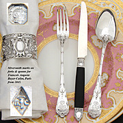 SALE Elegant Antique French Sterling Silver 36pc Luncheon or Dessert Flatware Set