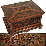 SALE LG Antique Victorian Era Hand Carved Jewelry, Sewing Box, Chest, Ornate Figural & Dated 1
