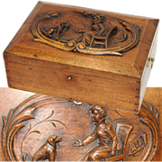 """SALE LG Antique Victorian Era 14"""" Jewelry or Sewing Box, Chest with Seated Woman & Dog ..."""