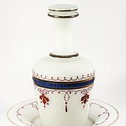 SALE Antique French Liqueur Set, Decanter, Lid, Tray, Opaline Bonne Nuit
