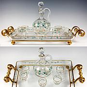 SALE Fine Antique French Baccarat Liqueur Service, Decanter, Cups, Tray - Dore Bronze