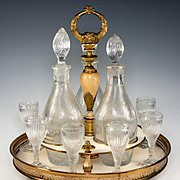 SALE RARE Antique French Empire Liqueur Cabaret, Service with Baccarat Crystal Decanters, c.17