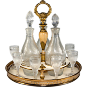 SALE RARE Antique French Empire Liqueur Cabaret, Service with Baccarat Crystal Decanters, c ..