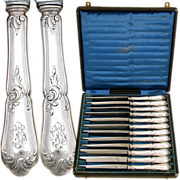 SALE Superb Antique - Vint French Sterling Silver 12pc Dinner Knife Set, Louis XV Style