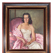 "SALE Beautiful c1940-50 French Oil Painting Portrait of a Pink Lady, Fine Frame, 37.25"" x"