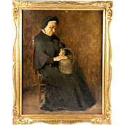 SALE Henry Jacquier (1878-1921) Antique French Portrait in Oil Painting, Frame, An Elderly ...