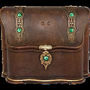 SOLD Antique Belle Epoch Stationery Caddy, Box, Vienna, Malachite