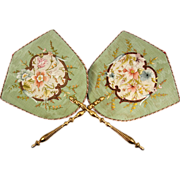SOLD Antique French Silk Embroidery Face Screen Pair (2), Opulent Victorian Fans