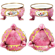 SOLD Pair: Antique Kiln-fired French Enamel Open Salts, Sevres Flowers on Pink
