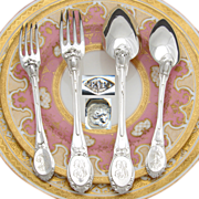 SALE Superb Antique French PUIFORCAT Sterling Silver 48pc Flatware Set, Ornate Pattern