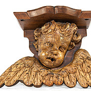 SALE Antique 1600s Carved Angel, Putti & Wings, A Bracket Shelf