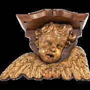 SALE Antique 1600s Carved Angel, Putti & Wings, A Bracket Shelf