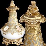 SALE Antique French Grand Tour Eglomise Perfume or Scent Bottle, 4 Paris Views