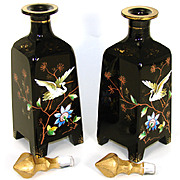 """SALE LG Antique Bohemian Harrach Black Opaline 8.5"""" Decanter or Perfume PAIR, Chinoiserie"""