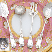 SALE Fine Antique French Silver Plate 4pc Hors d'Oeuvre Implement Set, Louis XV Pattern