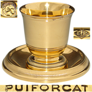 SALE Antique to Vintage PUIFORCAT French Vermeil 18k Gold on Sterling Silver Egg Cup & Under .