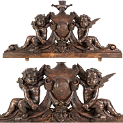 """SOLD Antique Hand Carved Putti Comprise Top of a Frame or Mirror or Cabinetry, 23.5"""" Long"""