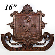 """SALE Large Hand Carved Black Forest Plaque 16"""" Armorial Crest with Lion Passant, Star, Sh"""