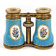 SALE Large Antique French Kiln-Fired Enamel Opera Glasses, Celeste or Sevres Blue Floral, c.18