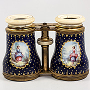 SALE Large Antique French Kiln-fired Enamel Opera Glasses, Binoculars, Cobalt Blue with Figure