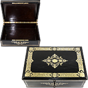 "SALE Antique French 13.5"" Table or Jewelry Box, Casket, Boulle Inlays, Napoleon III, Vict"