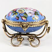 SALE Fine Antique French Kiln-fired Enamel Jewelry Casket, Box in Egg Shape, Ormolu Frame