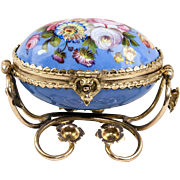 SALE Fine Antique French Kiln-fired Enamel Jewelry Casket, Box in Egg Shape, Ormolu Frame