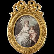 "SOLD Fine Antique French Frame, Dore Bronze Bow Top by Alphonze Giroux, PARIS, 6.25"" x 4."