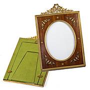 """SALE Antique French Dore Bronze & Wood Frame, Bow Top & Appliqué,  8"""" x 5.5"""""""