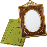 "SOLD Antique French Dore Bronze & Wood Frame, Bow Top & Appliqué,  8"" x 5.5"""