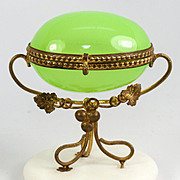 SALE Antique French Opaline Glass Egg Casket, Alabaster Plinth & Ormolu, Napoleon III Era