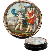 SALE Antique French Snuff Box, Portrait Miniature Mount in 18k Gold, c.1780-1830. Children ...