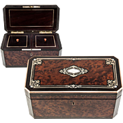 SALE Fine Antique French Tea Caddy, Napoleon III Boulle Brass Inlays, Double Well c. 1850-70