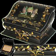 SALE Antique Victorian Papier Mache Stationery Box, Writer's Casket, Chest