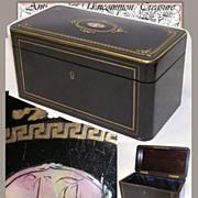 SOLD Fab Antique Napoleon III Tea Caddy, MOP Inlay Desk Box
