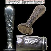 SALE Fine Antique .800 Silver Wax Seal or Sceau, Art Nouveau