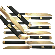 SALE Superb Antique French Sterling Silver & 22K Gold Vermeil & Ebony Knife Set: 8 With Coq Ma