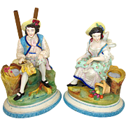 SALE Antique Pair Old Paris Porcelain Figures, Spill or Cigar Holder