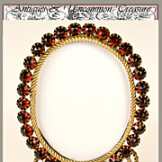 SALE PENDING Antique French Jeweled Frame, Faux Garnets and Ormolu Miniature - c. 1830-50 Ease
