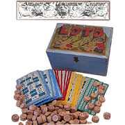 SALE Antique Dovetail Wooden Lotto Game Box, 114 Game Boards/Pieces