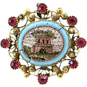 SALE Antique Victorian Era Micro Mosaic 18K Gold Ruby Brooch