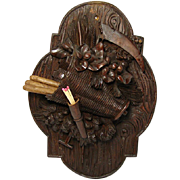 SALE Fine Antique Black Forest Carved Wall Plaque, Match & Spill Holder
