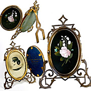 SALE Pietra Dura Locket Frame, Antique Grand Tour Plaque - A Master-signed plaque - Florence,