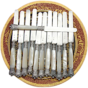 SALE Elegant Antique French .800 Silver & Mother of Pearl Knife Set