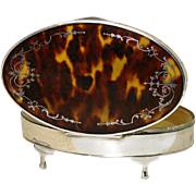 SALE LG Antique English Sterling Silver & Shell Casket - Tortoiseshell