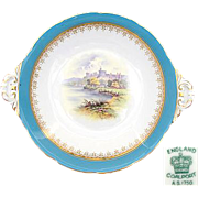 "SALE Antique Coalport 10"" Cake or Pie Dish, Windsor Castle Scene"
