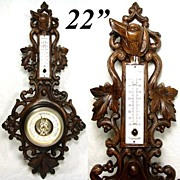 "SALE Fabulous Antique Black Forest Carved 22.5"" Wall Barometer, Hunting Dog & Pierced Fol"